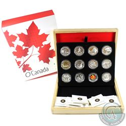 2013 Complete $10 O Canada 12-Coin Fine Silver Set with Deluxe Box. The Polar Bear coin has been Gol