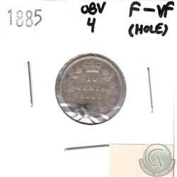 1885 Canada Obv 4. 10-cent F-VF (F-15) with Hole