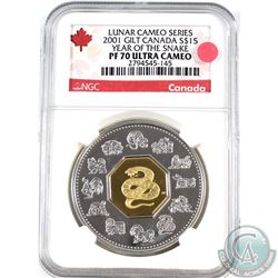 2001 Canada $15 Year of the Snake NGC Certified PF-70 Ultra Cameo