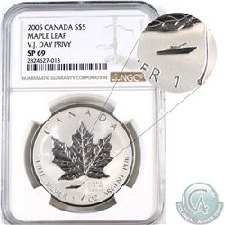 2005 Canada $5 V.J Day Privy Silver Maple NGC Certified SP-69 (Tax Exempt)