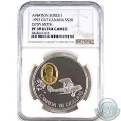 1992 Canada $20 Aviation - Gipsy Moth NGC Certified PF-69 Ultra Cameo.
