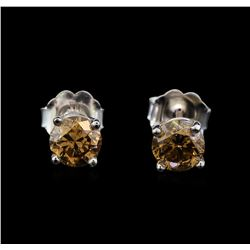 14KT White Gold 0.86 ctw Fancy Brown Diamond Stud Earrings