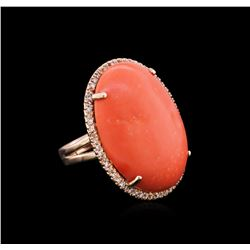 30.29 ctw Pink Coral and Diamond Ring - 14KT Rose Gold