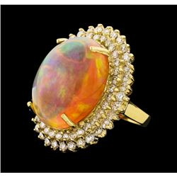 23.36 ctw Opal and Diamond Ring - 14KT Yellow Gold
