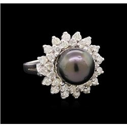 14KT White Gold Pearl and Diamond Ring