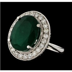 7.83 ctw Emerald and Diamond Ring - 14KT White Gold