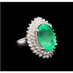 GIA Cert 10.05 ctw Emerald and Diamond Ring - 14KT White Gold