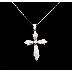 0.18 ctw Diamond Cross Pendant With Chain - 14KT White Gold
