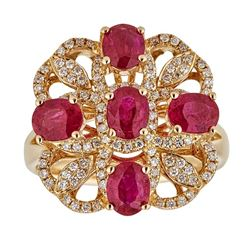 2.39 ctw Ruby and Diamond Ring - 14KT Yellow Gold