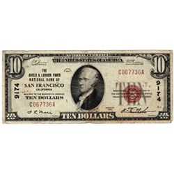 1929 $10 San Francisco CA National Currency Note Charter #9174