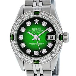 Rolex Ladies Stainless Steel 26MM Green Vignette Diamond Datejust Wriswatch