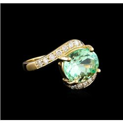 4.34 ctw Emerald and Diamond Ring - 14KT Yellow Gold