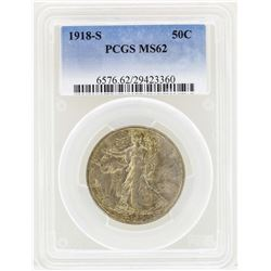 1918-S Walking Liberty Half Dollar Coin PCGS MS62