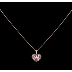 0.81 ctw Pink Sapphire and Diamond Pendant With Chain - 14KT Rose Gold