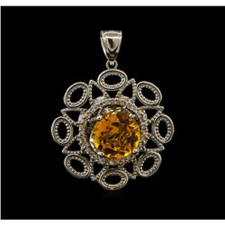 5.56 ctw Citrine and Diamond Pendant - 14KT White Gold