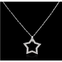 14KT White Gold 0.35 ctw Star Pendant With Chain