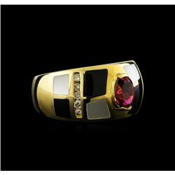 0.81 ctw Tourmaline and Diamond Ring - 14KT Yellow Gold