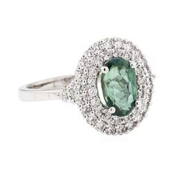 2.19 ctw Alexandrite And Diamond Ring - 14KT White Gold