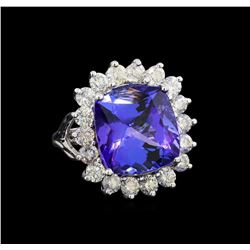 GIA Cert 13.03 ctw Tanzanite and Diamond Ring - 14KT White Gold
