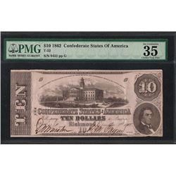 1862 $10 Confederate States of America Note T-52 PMG Choice Very Fine 35