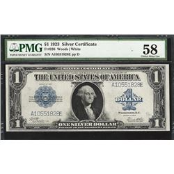 1923 $1 Silver Certificate Note Fr.238 PMG Choice About Uncirculated 58