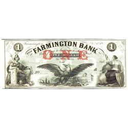 1800's $1 Farmington Bank, Farmington, NJ Obsolete Bank Note