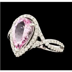 2.35 ctw Morganite and Diamond Ring - 18KT White Gold