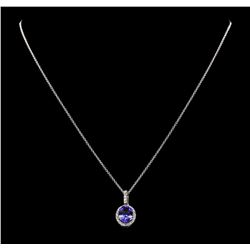 2.42 ctw Tanzanite and Diamond Pendant With Chain - 14KT White Gold