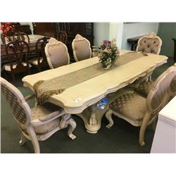MICHAEL AMINI CHATEAU DE LAGO COLLECTION ORNATE WOODEN DINING TABLE WITH 6 CHAIRS - RETAIL $12,400