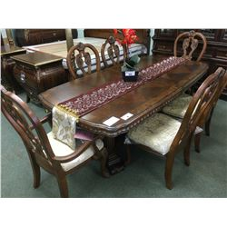 MICHAEL AMINI THE SOVEREIGN COLLECTION ORNATE WALNUT DINING TABLE WITH 6 CHAIRS & REGAL ILLUMINATED