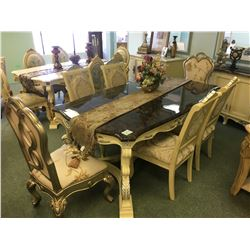 WHITE WOOD & DARK MARBLE TOP DINING TABLE WITH 6 CHAIRS & 4 DOOR MARBLE TOP BUFFET - RETAIL $17,800