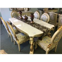 WHITE WOOD & WHITE MARBLE TOP DINING TABLE WITH 6 CHAIRS & 4 DOOR MARBLE TOP BUFFET - RETAIL