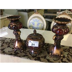 SET OF 3 MATCHING ORNATE RED & BRONZE CANDLE HOLDERS & CANDY DISH
