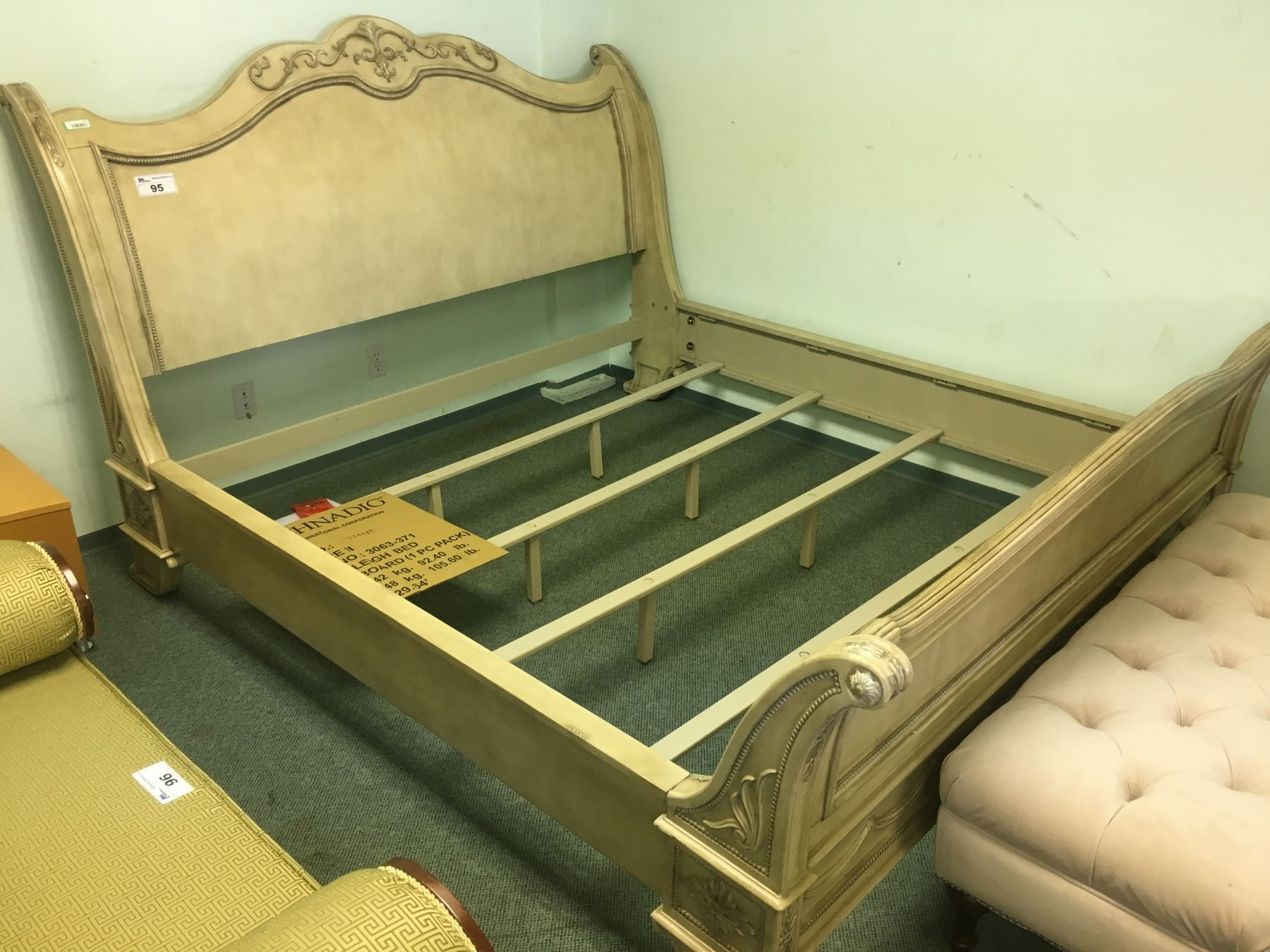 Schnadig Grey Ornate Wood King Size Bed Frame