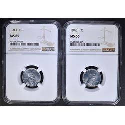 2 - 1943 STEEL CENT NGC MS65 & MS66