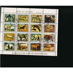 Umm Al Qiwain postage stamps Animals Block Of 16