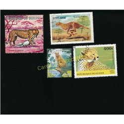 Lot Of 4 Foreign Cheetah Postage Stamps