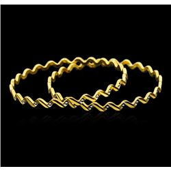 22KT Two-Tone Gold Fancy Bangle Bracelets