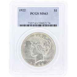 1922 PCGS MS63 Peace Silver Dollar