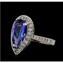 2.19 ctw Tanzanite and Diamond Ring - 14KT White Gold