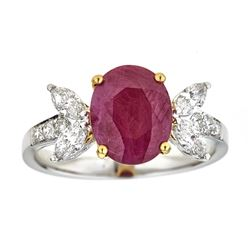 2.34 ctw Ruby and Diamond Ring - 18KT White and Yellow Gold