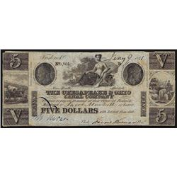 1841 $5 The Chesapeake & Ohio Canal Company Obsolete Note