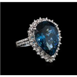 14KT White Gold 13.10 ctw Topaz and Diamond Ring