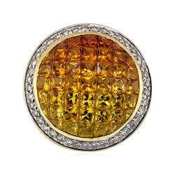 7.31 ctw Multi-colored Sapphire and Diamond Pendant - 14KT Yellow Gold