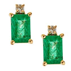 1.13 ctw Emerald and Diamond Earrings - 14KT Yellow Gold