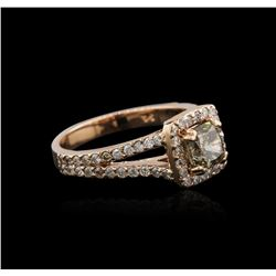 14KT Rose Gold 1.39 ctw Fancy Yellowish Green Diamond Ring