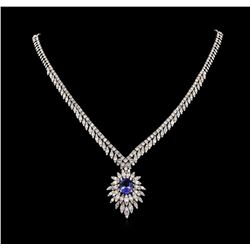 14KT White Gold 3.87 ctw Tanzanite and Diamond Necklace