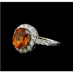 3.50 ctw Mandarin Spessartite and Diamond Ring - 14KT White Gold