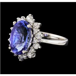 4.06 ctw Tanzanite and Diamond Ring - 14KT White Gold