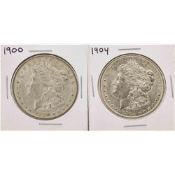 Lot of (2) 1900 & 1904 $1 Morgan Silver Dollar Coins